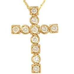 14K Yellow Gold 1.06CT Religious Diamond Cross Pendant - $649