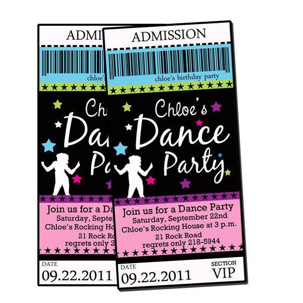 Dance Party POP rock Star Digital Custom Invitation Tickets Printable u PRINT. $12.00, via Etsy.