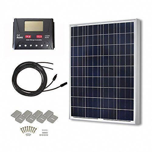 Hqst 100 Watts 12 Volts Polycrystalline Solar Panel Off Grid Rv And Boat Kit With 30a Pwm Lcd Display Ch In 2020 Portable Solar Power Solar Panel Cost Solar Panel Kits