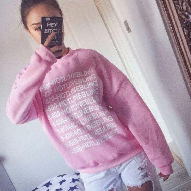 Autumn Fashion Women Pink Fleeced Thick Warm Hoodies Pullovers Hotline Bling Winter Sweatshirts New
