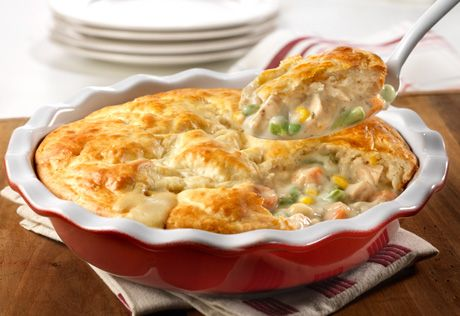 Cream of chicken soup, frozen veggies, chicken and a biscuit crust put the easy in this delectable chicken pot pie that bakes in only 30…