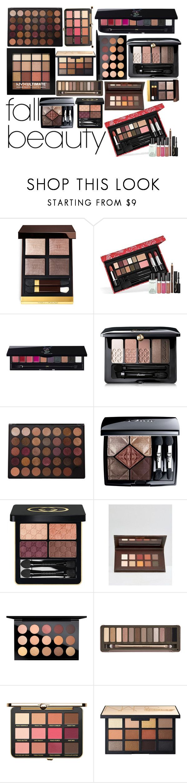 """""""Fall Eyeshadow Palettes"""" by lily-mitchell ❤ liked on Polyvore featuring beauty, Elizabeth Arden, Yves Saint Laurent, Guerlain, Morphe, Christian Dior, Gucci, Barry M, MAC Cosmetics and Urban Decay"""