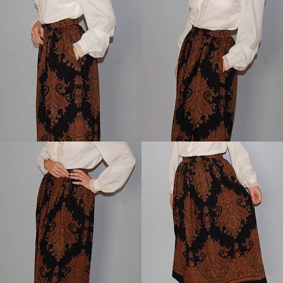 e3e4b19a8e79 BERGDORF GOODMAN wool maxi skirt russian fairytale paisley | SHOP ...