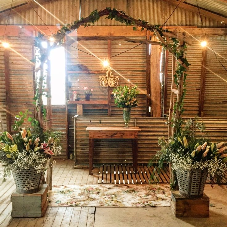Country shed transformed into a winter wedding chapel.