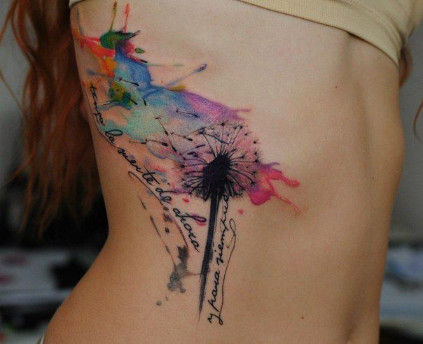 1337tattoos:  Alexandra Katsan  Water color tattoos are the shit, this is pretty rad, not gonna lie. Hmm....