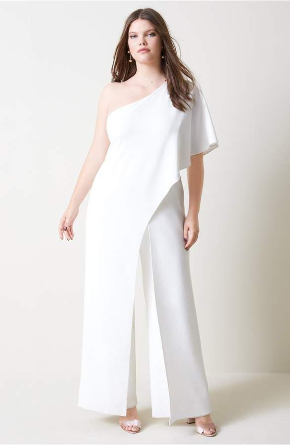258600dd531a One shoulder jumpsuit in white or black #party #outfit #formal #Plussize #