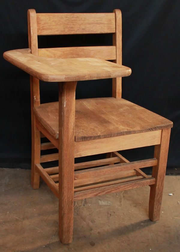 antique vintage solid wood wooden right hand handed student desk chair