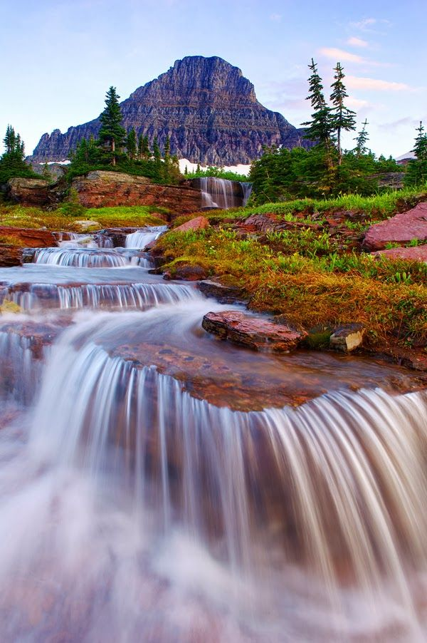 Waterfall in Glacier National Park, Montana United States
