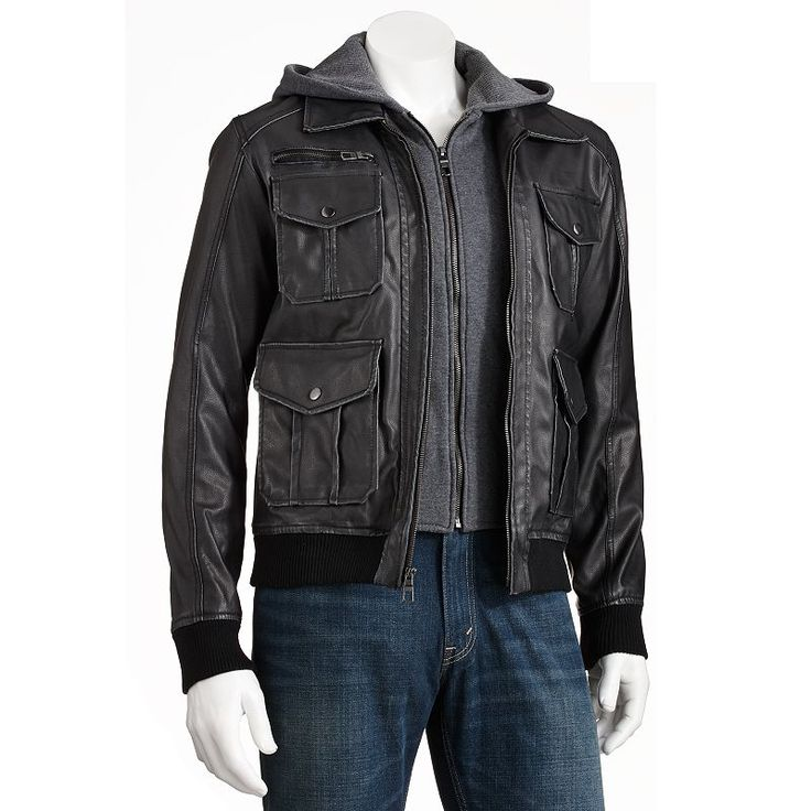 Men's Excelled Faux-Leather Hooded Bomber Jacket, Black