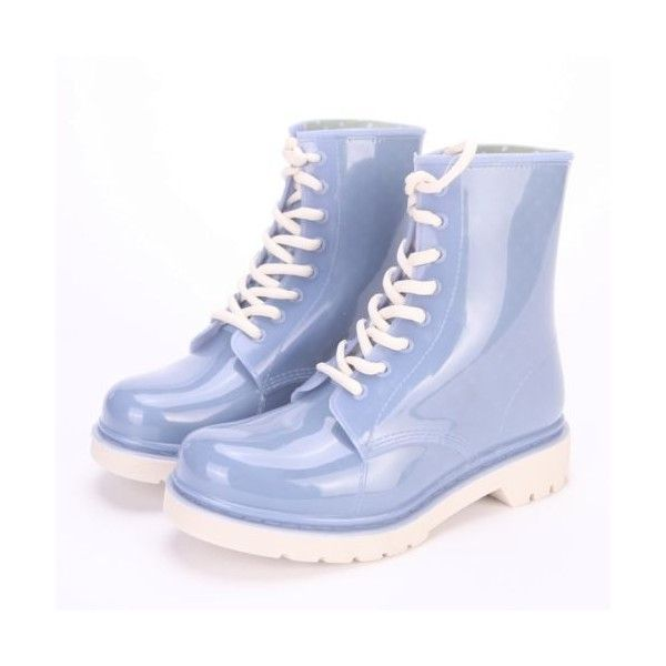 Clear Rain Boots Color Soles Combat Lace Up Jelly Shoes Waterproof... ❤ liked on Polyvore featuring shoes, boots, waterproof rain boots, clear rain boots, clear boots, wellington boots and combat boots
