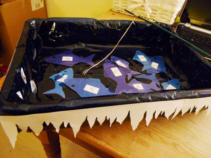 My frozen fishing magnetic pond: maths and fine motor practise game that I made for our EYFS Winter Land role play area - Topic Land of Ice and Fire