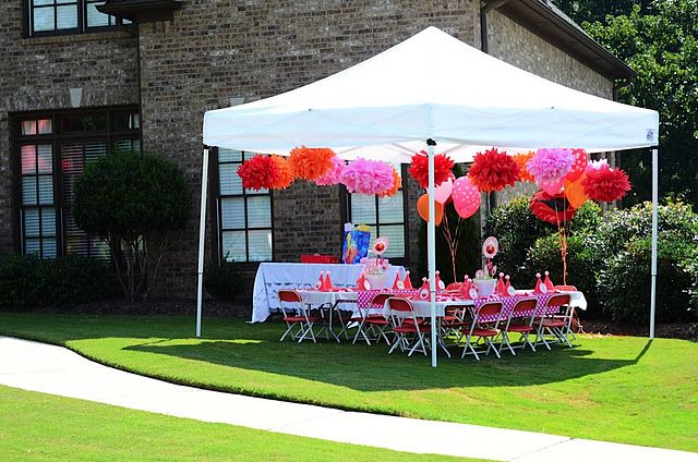 Love the pom poms hanging from the tent parties showers for Baby shower canopy decoration
