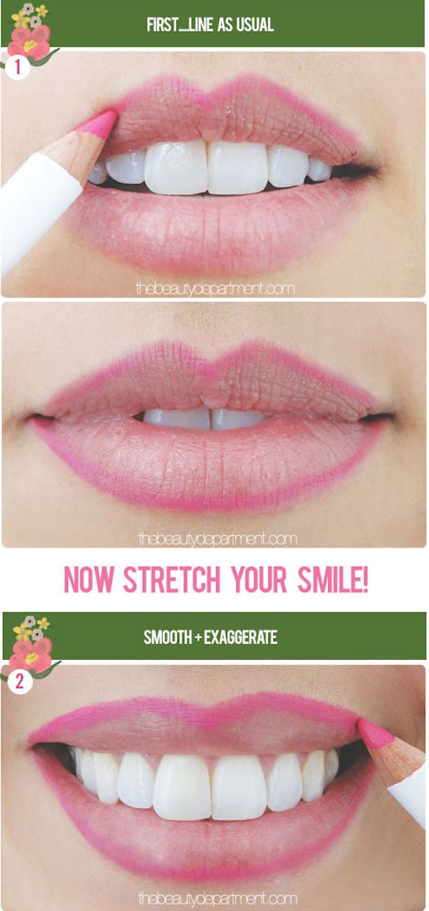 If you want to try liner for creating a fuller lip, all you need to do is smile to find where to exaggerate the line.