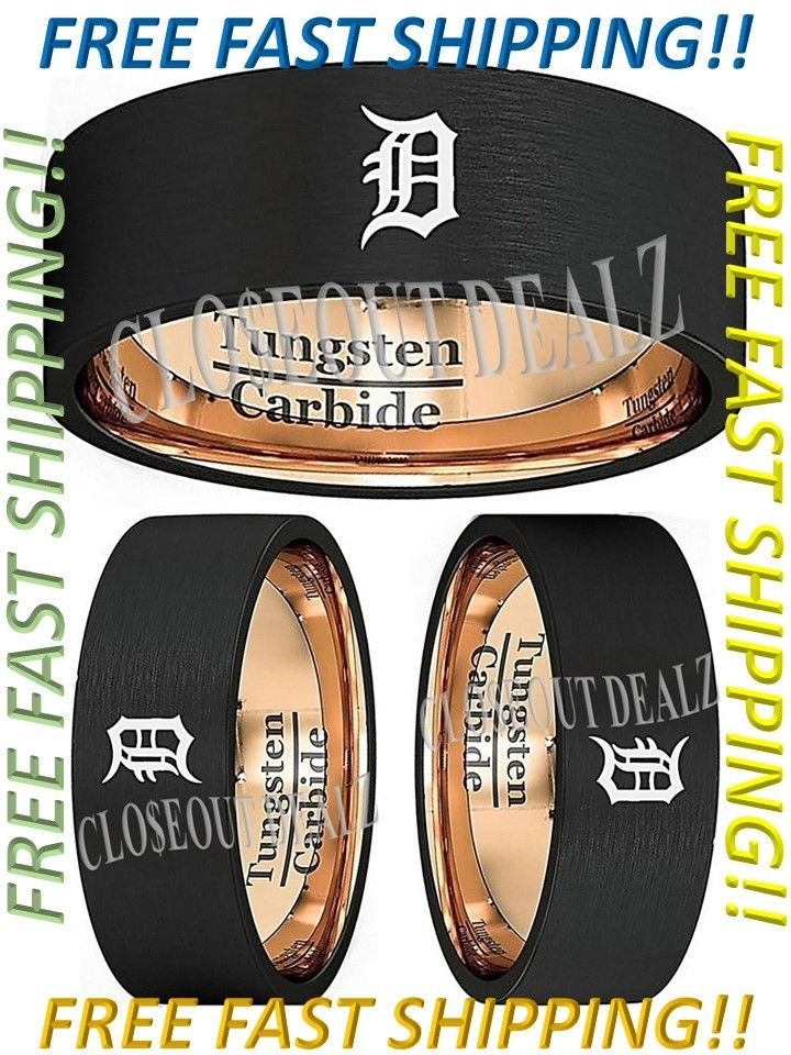 Detroit Tigers Ring Wedding Ring 8mm Black and Gold Tungsten Wedding Band 7 - 13