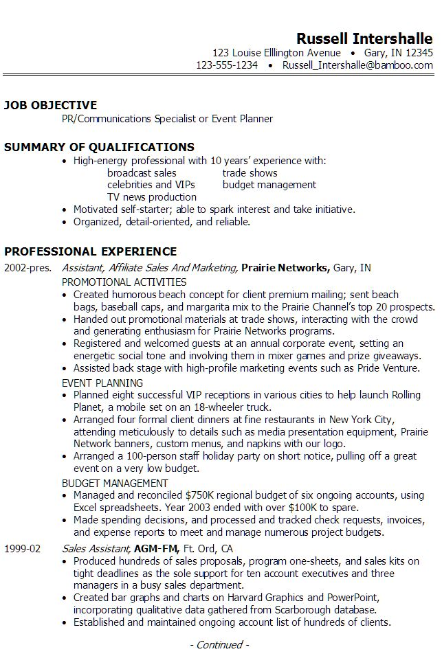 resume pr communications specialist or event planner career event planning assistant sample resume - Non Profit Resume Samples