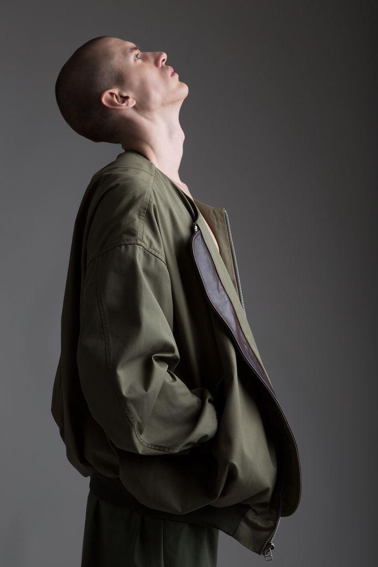 Hed Mayner Men's Oversized Bomber Jacket, Military Surplus shorts and Pouch. Designer Clothing Dark Minimal Street Style Fashion