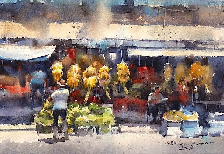 direk kingnok watercolor artist fruit market at galle  sri