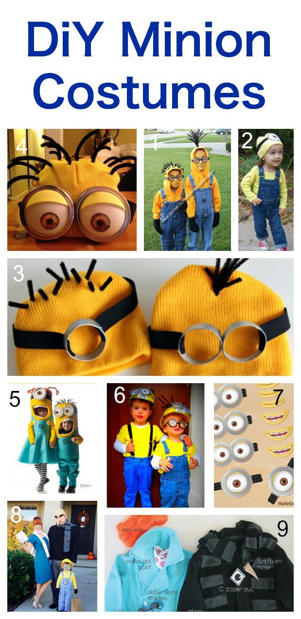 Minion Costumes to make yourself. These ideas link up to all the original tutorials and instructions. This post includes more minion ideas - including decorations, treat bags and minion pumpkins!