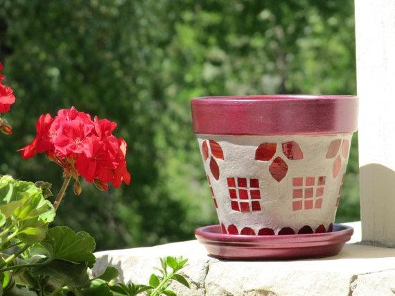 Mosaic terracotta flower pot | Mosaic | Pinterest