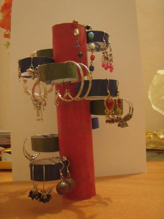 Earring Stand - paper roll holder reuse: