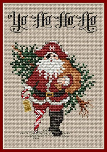 Yo Ho Ho Ho Post Stitches pirate cross stitch chart with charm Sue Hillis Design $5.40  #pirate