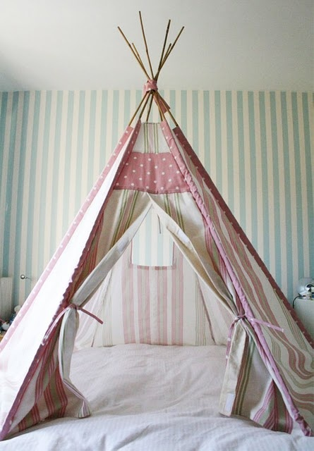 teepee bed for the kiddos.  2 different ideas.  My kids would die of happiness