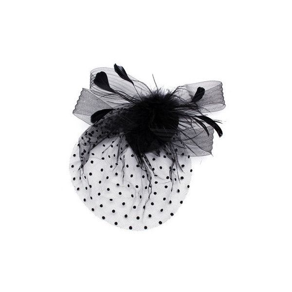 Bride  Dot Black White Feather Mesh Fascinator Wedding Party... (94.840 IDR) ❤ liked on Polyvore featuring accessories, hair accessories, black, hair fascinators, fascinator hats, feather fascinator hats, bridal hair fascinators and black and white fascinator