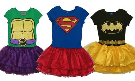 Adorable superhero costumes dress kids up in colorful Supergirl, Batgirl, and Ninja Turtle outfits, with attached capes and fluffy tutus