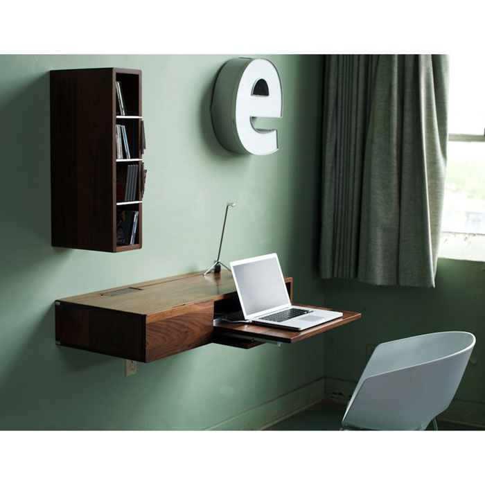 Cool and compact, the Ledge is a multi-use, wall-mounted unit that can serve as a writing desk or media center.