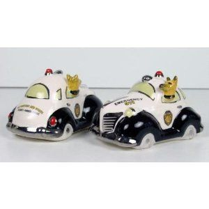 """Henry Cavanagh 911 Police Car Salt & Pepper Shakers by BAMS. $34.95. Henry Cavanagh 911 Police Car Salt & Pepper Shakers.    Henry Cavanagh 911 Police Car Salt & Pepper Shakers  This is the """"911 Police Car"""" Salt and Pepper Shakers, another wonderful design by Henry Cavanagh Studios!!  There is an ever faithful K-9 Police Dog Driving this pair of Black and Whites!!  Beautiful quality, heavy, high g..."""