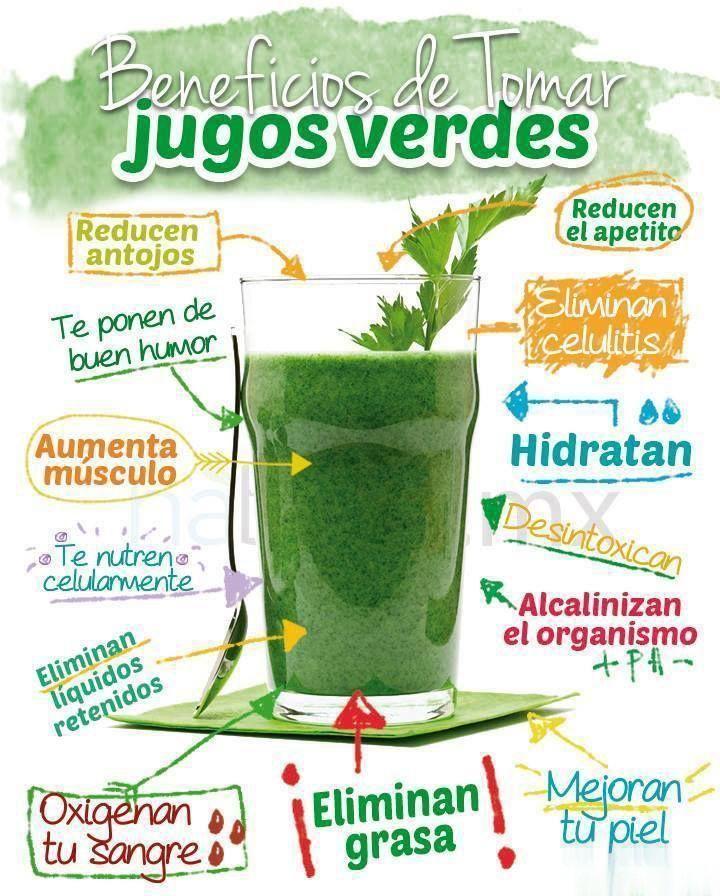 Los beneficios de tomar jugos verdes - Infografías y Remedios. #jugos #salud #infografía #infographic #nutrición