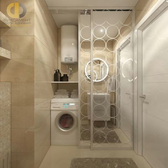 Современные идеи в дизайне ванной комнаты с раздвижной перегородкой. Фото 2016
