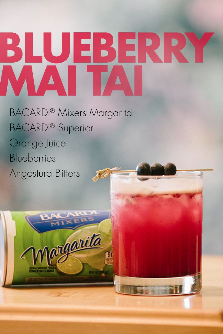 This colorful fruit-filled cocktail is a great new twist on the classic Polynesian favorite! See for yourself by mixing up BACARDI® Mixers Margarita, orange juice, blueberries, angostura bitters, and your favorite rum for one-of-a-kind refreshment at your next evening on the patio or in the pool.