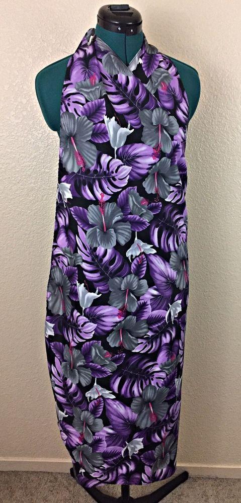 Hilo Hattie Floral One Size Sarong  Wrap Cover-Up Dress Black/Purple  | eBay