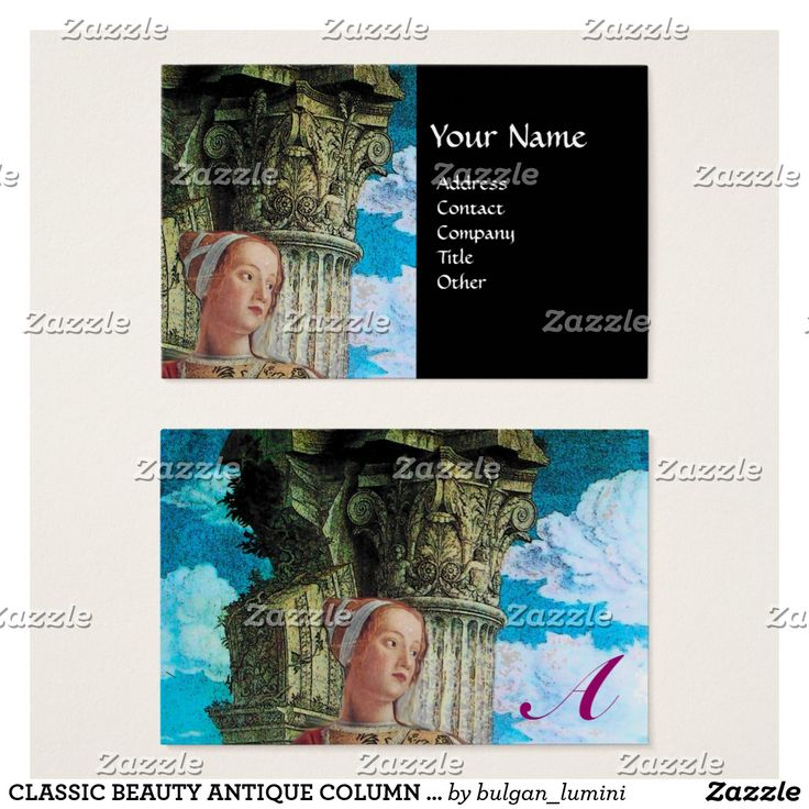 CLASSIC BEAUTY ANTIQUE COLUMN MONOGRAM Blue Black Business Card #archeology #fineart #antiquary #architecture