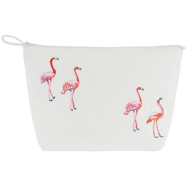 Marinette Saint Tropez Flamingos Cosmetic Bag - White ($27) ❤ liked on Polyvore featuring beauty products, beauty accessories, bags & cases, white, travel kit, make up purse, travel toiletry case, travel bag and makeup bag case