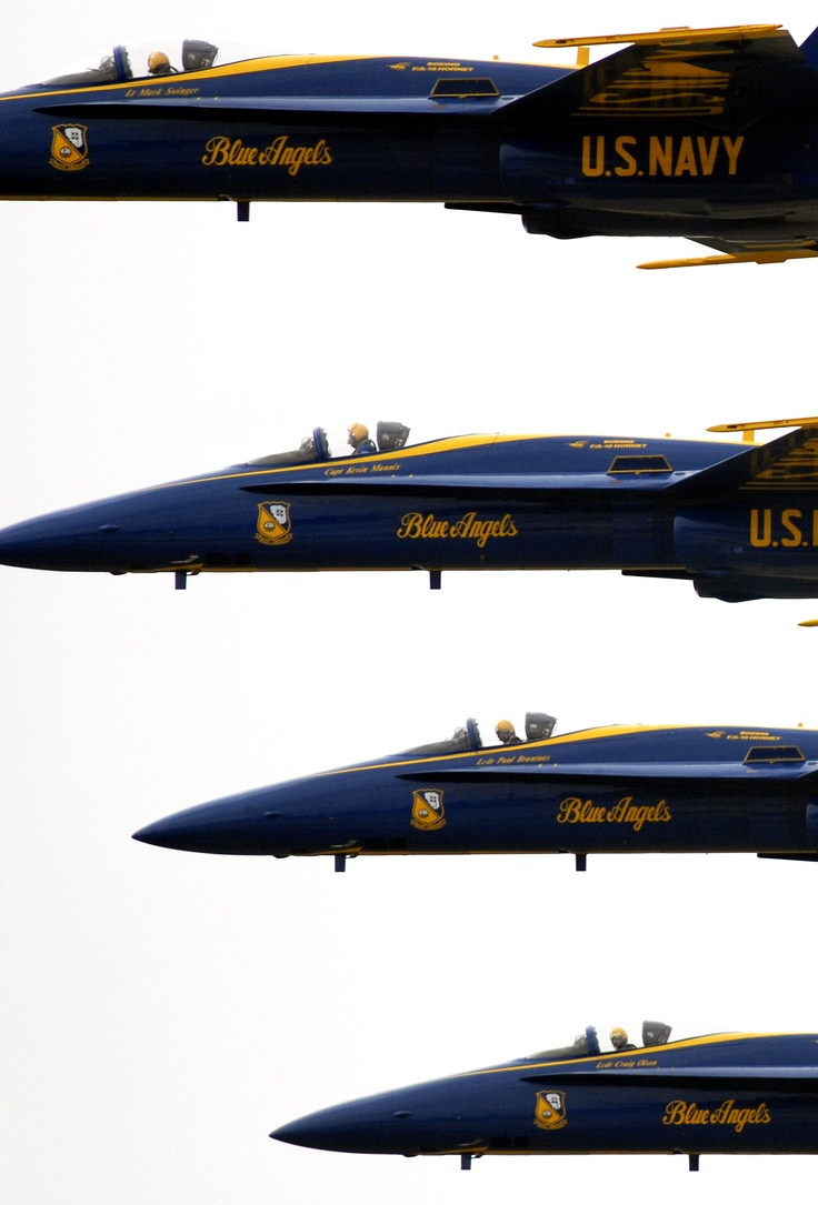 Four F/A-18C Hornets from the Blue Angels flight demonstration squadron fly in a stacked formation during their performance at the 50th Anniversary Air Show at Naval Air Station Oceana, Virginia Beach, Va., Sept. 20, 2008. U.S. Navy photo by Petty Officer 2nd Class Kristopher S. Wilson