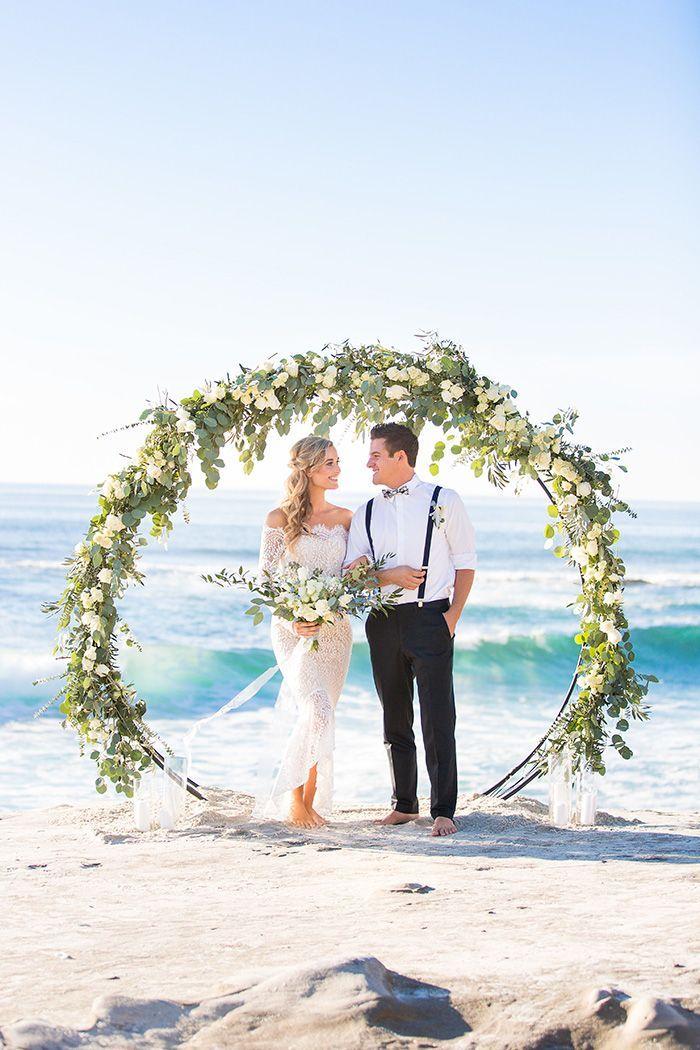 Cercle Fleur Arch pour un mariage de verdure Plage heyweddinglady.co … #wedding #w