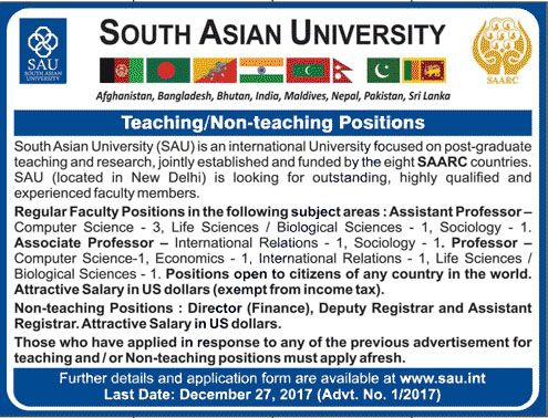 South Asian University SAU Jobs 2017 For Teaching And Non Teaching Staff http://www.jobsfanda.com/south-asian-university-sau-jobs-2017-teaching-non-teaching-staff/