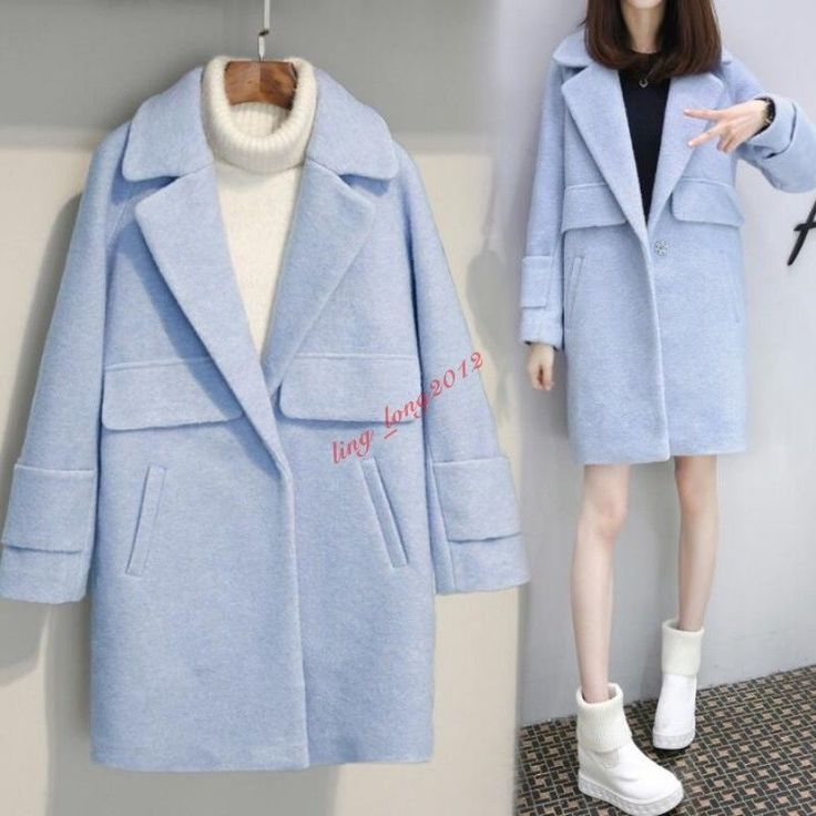 Cocoon Style Womens Loose Wool Blend Thicken Coat Lapel Parka Outwear Autumn