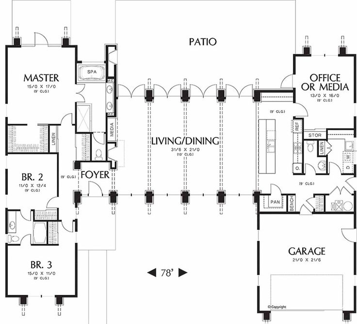 Modern Style House Plan - 3 Beds 2.5 Baths 2557 Sq/Ft Plan #48-476 Main Floor Plan - Houseplans.com