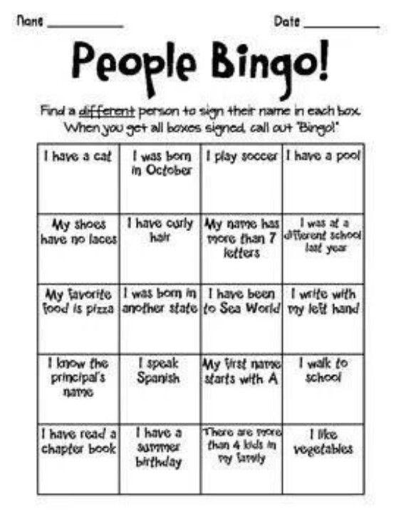 Kennismakingsspel: lln. zitten in 2 kringen. Na belsignaal draait de buitenste kring 1 plaatsje door. De buitenste kring stelt vragen aan de binnenste kring en proberen zoveel mogelijk associaties te vinden. Na het belsignaal draait de buitenste kring terug door maar nu mag de binnenste kring vragen stellen. Wie als eerste zijn kaart vol heeft roept bingo en is gewonnen.