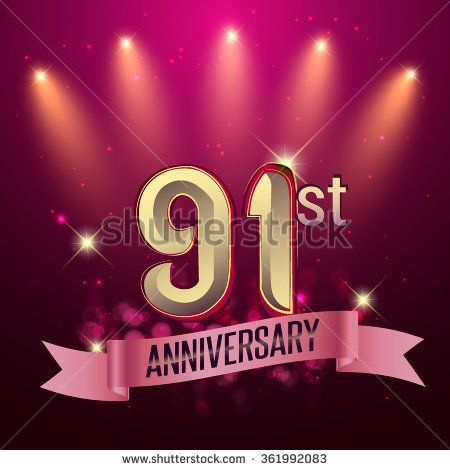 91th Anniversary, Party poster, banner or invitation - background glowing element. Vector Illustration. - stock vector