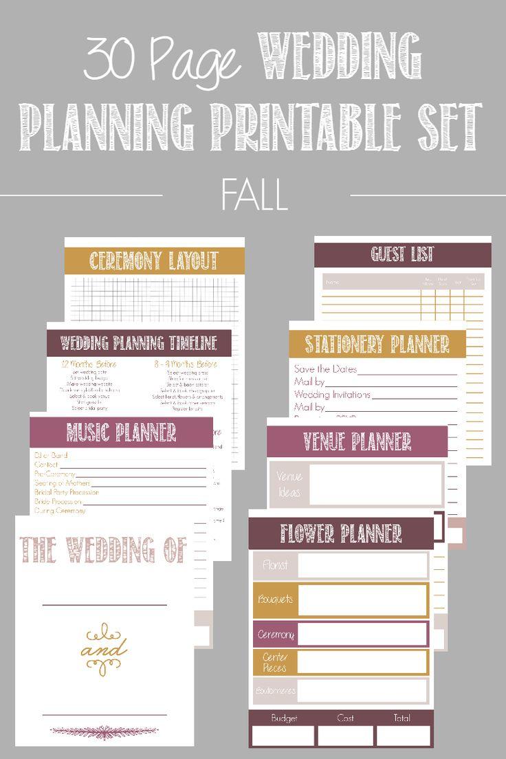 30 page wedding planning printable set