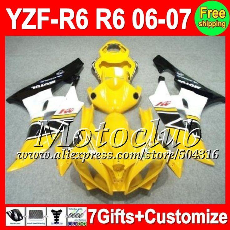 Желтый черный 7 подарок + тела для YAMAHA YZF600 06-07 YZF R 6 YZF-R6 06 07 желтый белый C9681 YZF 600 YZFR6 YZF R6 2006 2007 обтекателя