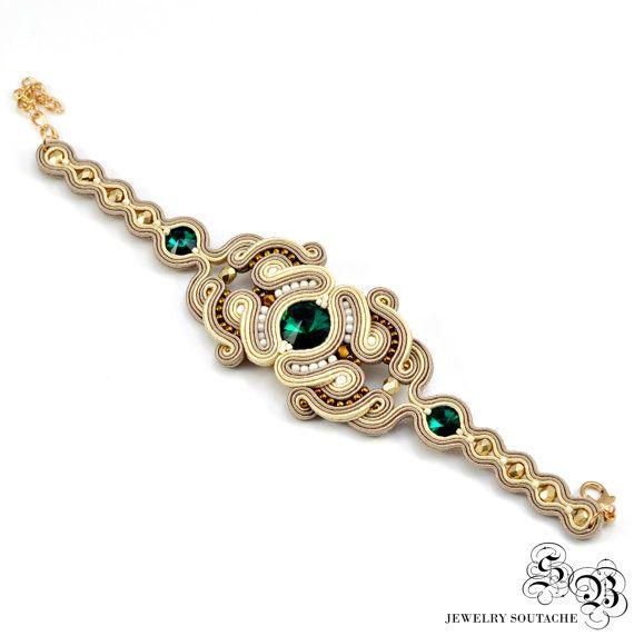 Elégant ensemble de bracelet et boucles par SBjewelrySoutache