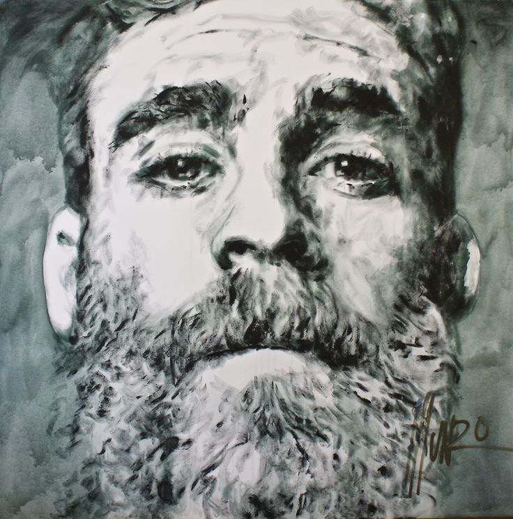 """""""the sky is red"""" - A portrait by South African Artist Munro. Collection: Be Men of Courage. M12232  120 x 120 x 2,5 cm #faces #munro #beard #bemenofcourage"""