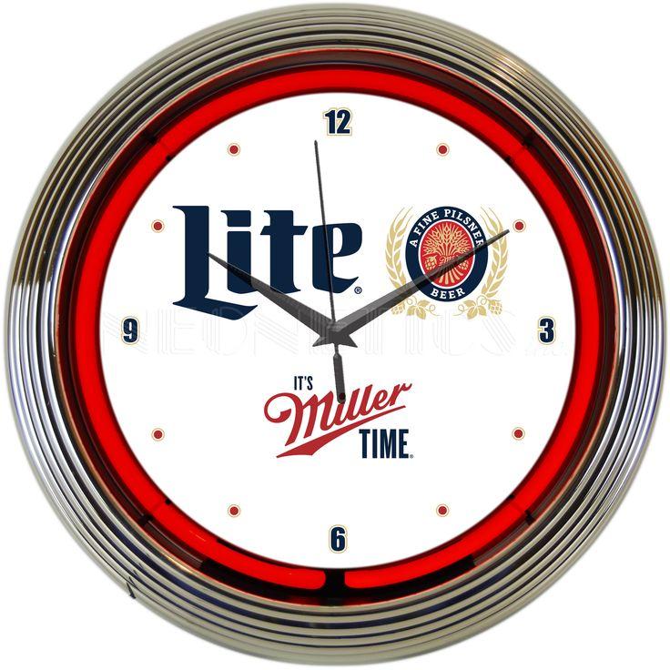 """15"""" Miller Lite Beer Its Miller Time Neon Clock"""