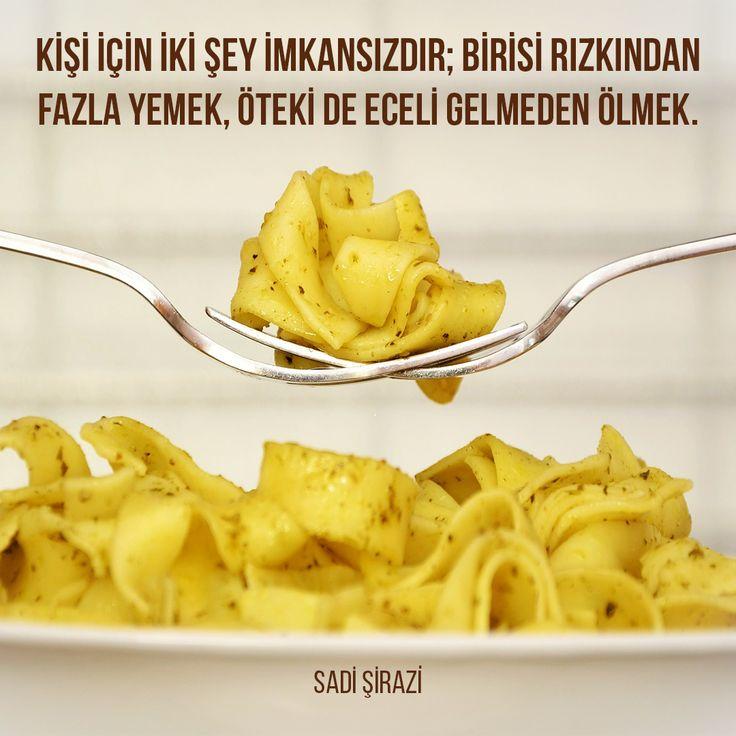 """""""Kişi için İki şey imkansızdır; birisi rızkından fazla yemek, öteki de eceli gelmeden ölmek.""""  Sadi Şirazi"""