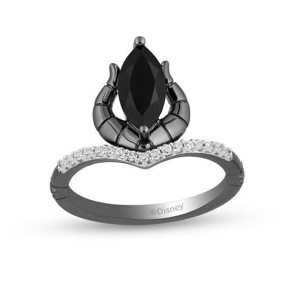 Enchanted Disney Villains Jafar Oval /& 1//15 CT Diamond Snake Ring in 925 Silver